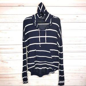 Brandy Melville Striped Hoodie Long Sleeve Shirt